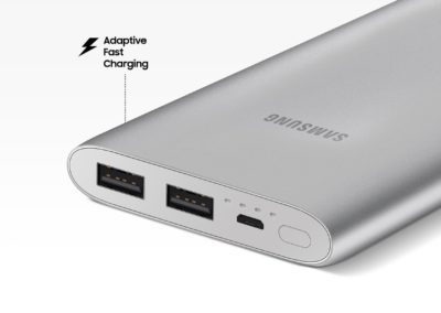 Samsung EB-P1100BSEGUS 10,000 mAh Portable Battery with Micro USB Cable, Silver