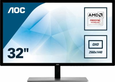 "AOC Monitor 32"" Class IPS Panel QUAD 2560x1440 Resolution 75Hz FreeSync VGA DVI HDMI DisplayPort Q3279VWFD8"
