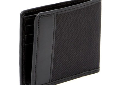 LEWIS N CLARK RFID Blocking Ballistic Nylon & Leather Trimmed Bifold Wallet