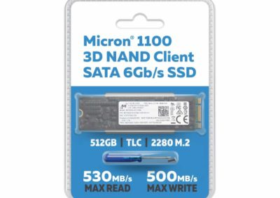 Micron 512GB 1100 TLC 3D NAND SATA III 6Gb/s 80mm 2280SS M.2 Client SSD - FIPS 140-2 Level 2 Validated SED - MTFDDAV512TBN-1AR15FCYY