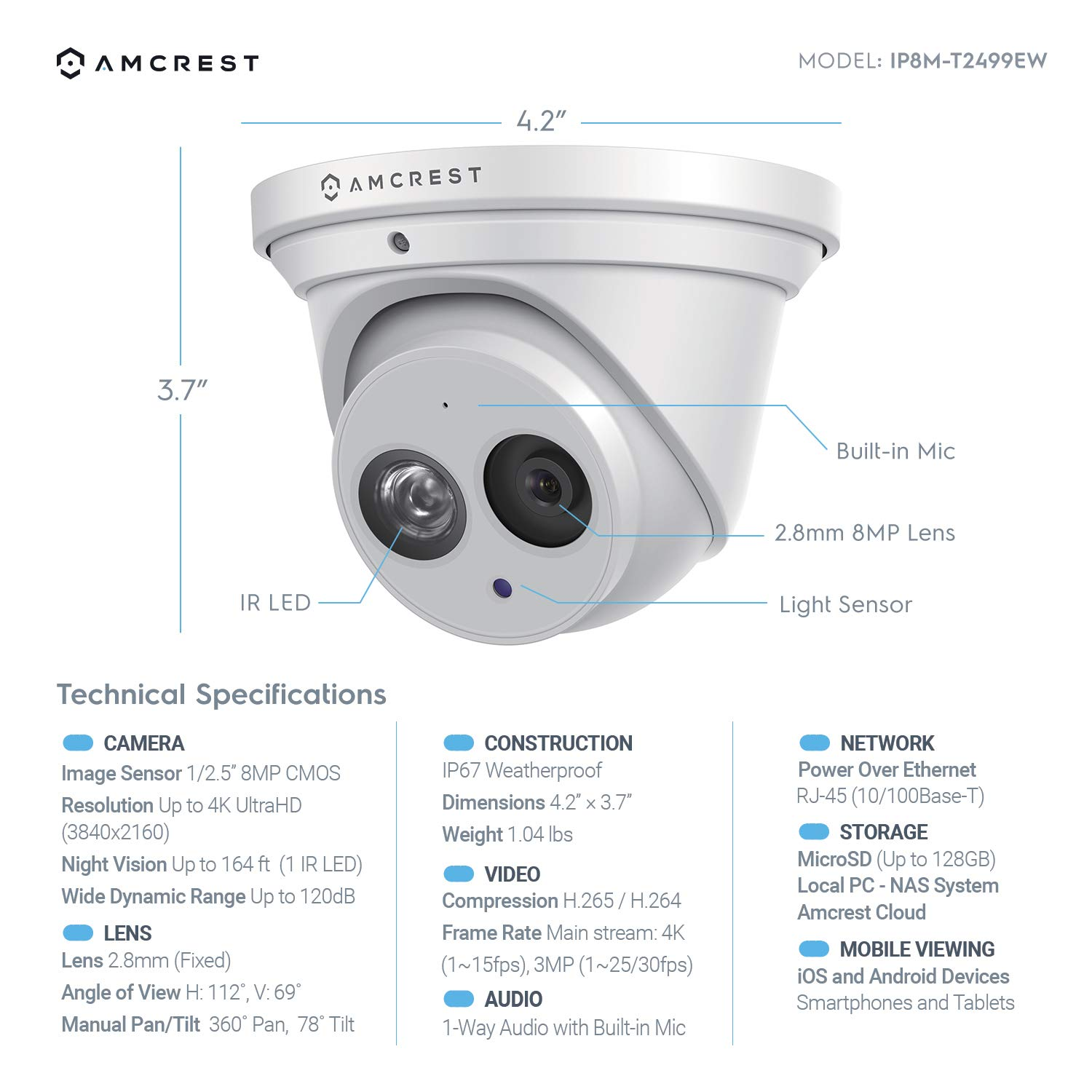 8MP (4K Ultra HD) Amcrest Turret Outdoor IP PoE Security Camera for