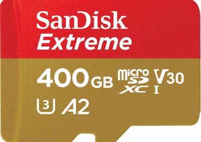 SanDisk 400GB Extreme microSDXC UHS-I Memory Card with Adapter - C10, U3, V30, 4K, A2, Micro SD - SDSQXA1-400G-GN6MA
