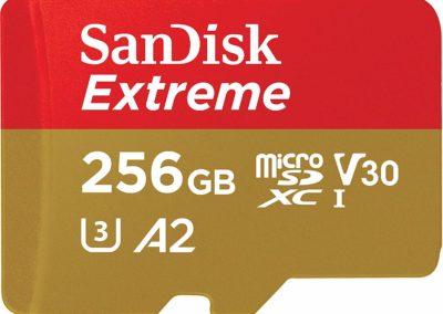 SanDisk 256GB Extreme microSDXC UHS-I Memory Card with Adapter - C10, U3, V30, 4K, A2, Micro SD - SDSQXA1-256G-GN6MA