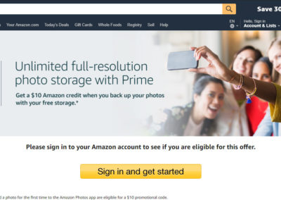 Amazon Photos with Prime $10 Amazon Credit