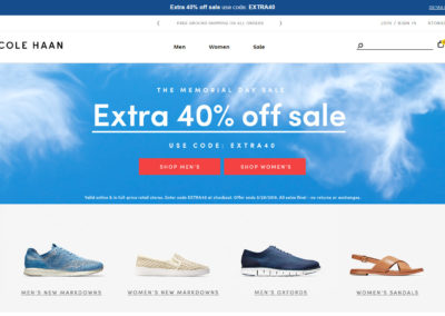 Cole Haan Extra 40% off Sale Items for Memorial Day Sale Code EXTRA40