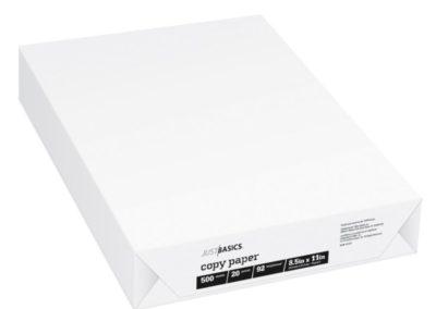 Just Basics Copy Paper 20lb Letter Size, 92 Brightness 10 Ream Case
