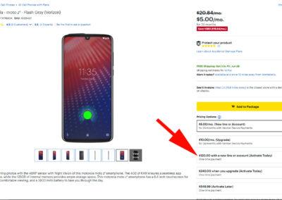 Verizon Wireless Motorola Moto z4 Cell Phone for Only $120