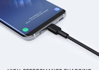 USB Type C Cable AUKEY [ 6ft 2-Pack ] USB C Cable Braided Nylon USB C to USB A Fast Charging Cord for Samsung Galaxy Note 9 8 S10 S10+ S10e S9 S8+ Fold, LG V30 V20 G6, Nexus 6P, Nintendo Switch, Pixel