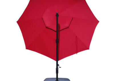 Simply Shade AG45RLD-LS-3 Red Offset Pre-lit 11-ft Auto-tilt Octagon Patio Umbrella with Black Aluminum Frame and Base