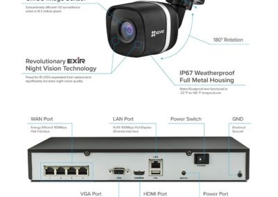 ezviz UN-1884A2 8-Channel 4K UHD NVR with 2TB HDD & 4 4K Outdoor Night Vision Bullet Cameras