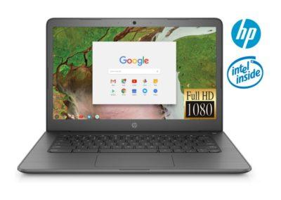 "IPS 14"" 1080p HP 14 HP14043-RB Chromebook Factory Renewed Bundle with Intel Celeron N3350, 4GB LPDDR4 Memory, 32GB eMMC, Wireless Mouse, and Sleeve Bag"