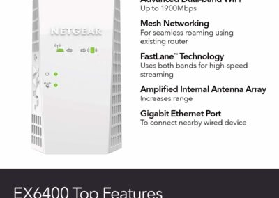 NETGEAR WiFi Mesh Range Extender EX6400-100NAR - Coverage up to 1800 sq.ft. and 30 Devices with AC1900 Dual Band Wireless Signal Booster & Repeater (up to 1900Mbps Speed), Plus Mesh Smart Roaming
