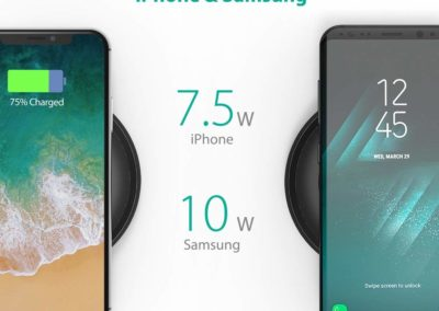 Fast Wireless Charger RAVPower 7.5W Compatible iPhone Xs MAX/XR/XS/X/8/8 Plus, with HyperAir, 10W Compatible Galaxy S9, S9+, S8, S7 & Note 8 and All Qi-Enabled Devices (QC 3.0 Adapter Included)