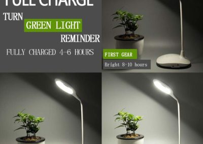 Lifetooler Modern Table Lamp LED Light with USB and AC Power Outlet Round White Shade for Bedroom Office - 360 Lighting