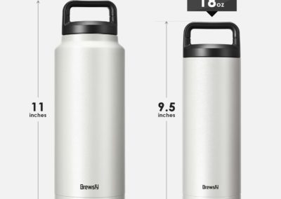 Brewsly Insulated Water Bottle, Double Wall Vacuum Insulated Stainless Steel Leak Proof Sports Water Bottle, with BPA Free Cap, Scratch Proof (4 Color, 4 Capacity)