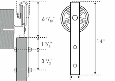"""FEMOR 6.6 FT Heavy Duty Single Rail Sliding Barn Door Hardware Kit, Super Smoothly and Quietly, Simple and Easy to Install, Fit 36""""-40"""" Wide DoorPanel(Big Wheel Industrial Hangers)"""