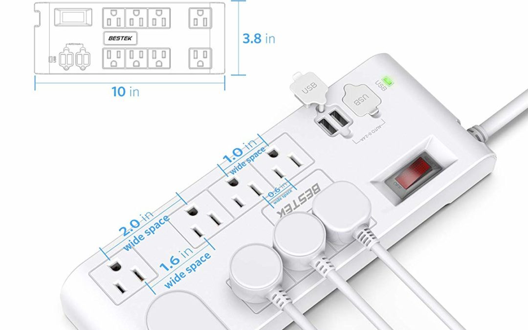 8-Outlet 600 Joules Surge Protector Power Strip with 4 USB Charging Ports and 6-Foot Heavy Duty Extension Cord for $21.05 Shipped from Amazon