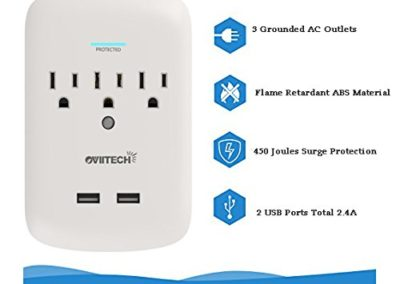 Oviitech Surge Protector USB Wall Mount Outlet 3-Outlet Plug and Dual 2.4A USB Charging Ports,OviiTech Socket Plug Splitter Adapter,White,2 Pack