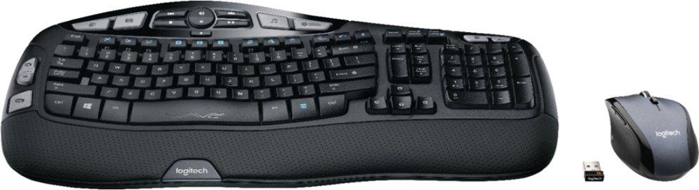 Logitech 920-008001 MK570 Comfort Wave Wireless Keyboard and Optical Mouse - Black