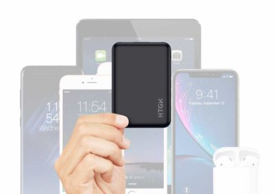 HTGK Mini Power Banks 5000mAh Portable Charger Ultra Slim Power Bank with Dual Input and Output External Battery Pack Compatible with Most Smart Phones