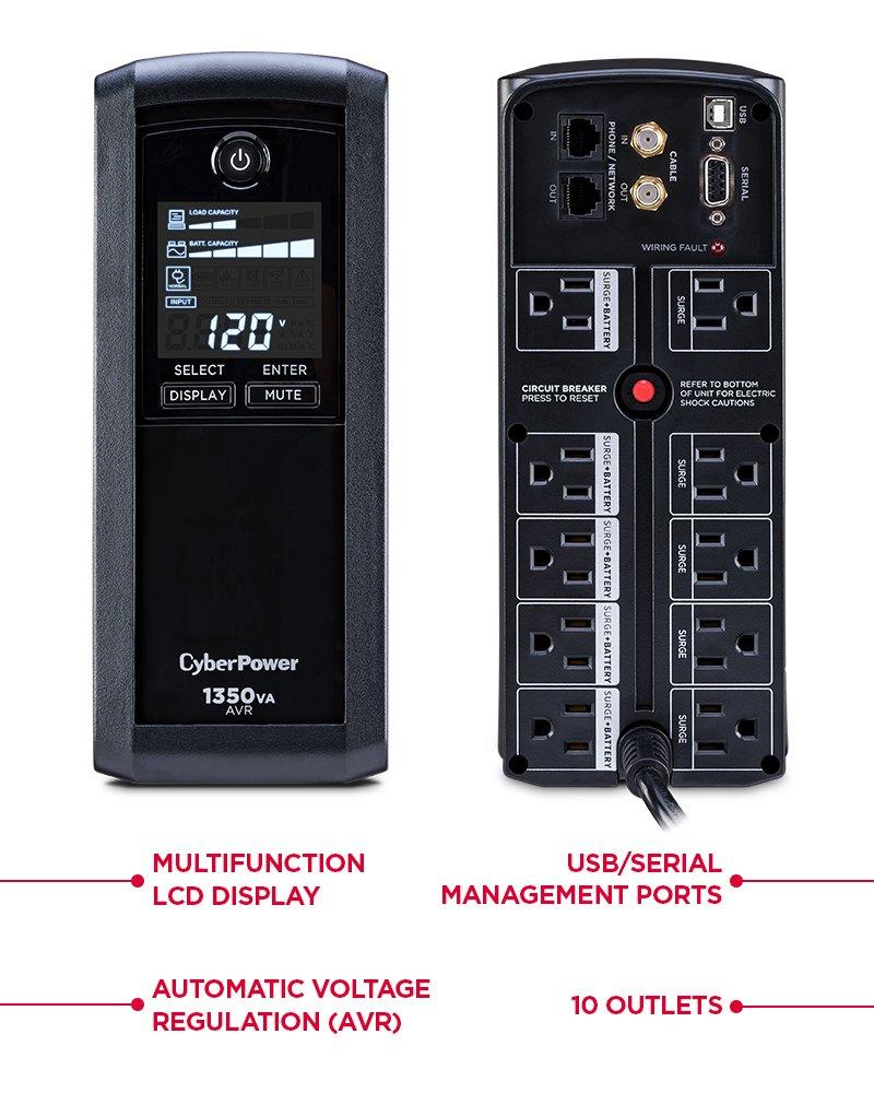 Cyberpower Cp1350avrlcd Intelligent 1350va 815w Lcd Mini