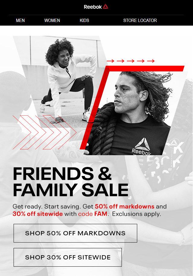 Super günstig 100% hohe Qualität Sonderpreis für Reebok Friends & Family Sale. Get 50% off Markdowns and 30 ...