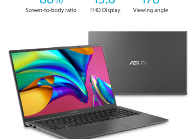 "ASUS VivoBook 15 F512DA Thin and Light, 15.6"" Full HD, AMD Ryzen™ 3 3200U, 4GB DDR4, 128GB SSD, Vega 3 Graphics, Fingerprint Scanner, Windows 10 Home in S mode, Slate Gray, F512DA-WH31"