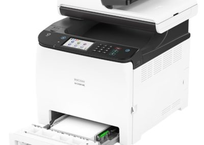 Ricoh M C250FWB Digital Color Multifunction Laser Printer - Print, Copy, Scan, Fax (30,000 Duty Cycle, Accepts Toner Up To 2300 Prints)