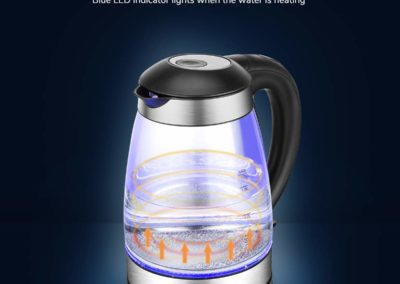 Electric Kettle, CUSINAID Glass Tea Pot Electric Water Boiler 1.7L Coffee Tea Kettle with BPA Free I LED Light I Auto Shut-Off I Boil-Dry