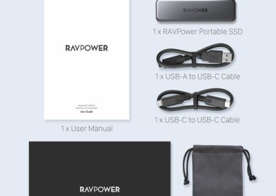 RAVPower RP-UM003 Mini External SSD Hard Drive 512GB Portable SSD USB-C Solid State Flash Drive, Up to 540MB/s, NAND Flash & USB 3.1 Gen 2 Interface, ATA Lock 	B07YDF4P51