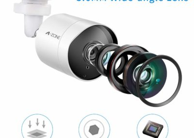 A-ZONE Security Camera System 8CH 1080P Bullet IP PoE System 4 Outdoor/Indoor 3.6mm Fixed Lens 2.0 Megapixel IP67 Waterproof Cameras Smart Motion Detection Free Remote View - 1TB Hard Drive