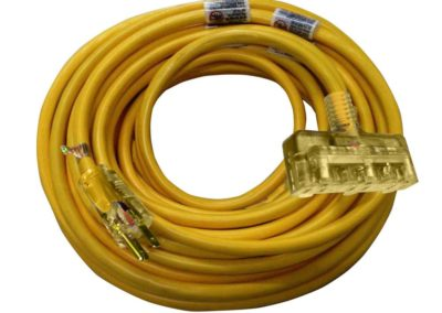 HUSKY 50 ft. 12/3 Outdoor Extension Cord, Yellow jacket, lighted triple tap receptacle