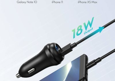 Car Charger RAVPower 36W Qc 3.0 Car Quick Charger Dual USB Ports Car Adapter for Galaxy S10+ S9+ S8+ Note 10+ Note 9+ Note 8, iPhone 11 Pro Max X XR XS Max and More