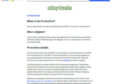 "10% in eBay Bucks on every qualifying item of $50 or more (the ""Promotion"")."