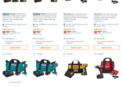 Makita 18v LXT Brushless, Milwaukee M18 18v Brushless, and Dewalt ATOMIC 20v MAX Brushless Tools with Battery and Bag