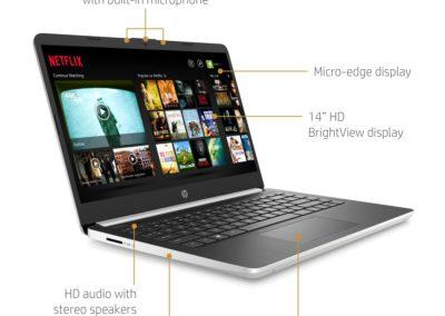 HP 14 Laptop, Intel Core i5-1035G1, 8GB SDRAM, 256GB SSD + 16GB Intel Optane memory, Natural Silver, 14-dq1039wm