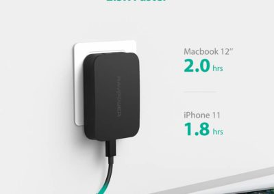 RAVPower USB Wall Charger [GaN Tech], RAVPower 45W PD USB-C Charger Type-C Power Delivery Adapter, Ultra-Compact Compatible with iPhone 11/ Pro/Max, MacBook, Dell Xps 15 13, iPad Pro 2018 and More(Black)