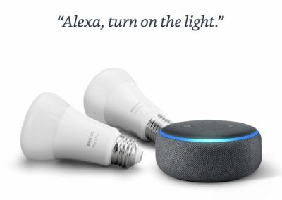 Echo Dot (3rd Gen) Charcoal Bundle with Philips Hue White 2-pack A19 Smart Bulbs, Bluetooth & Zigbee compatible (No Hub Required)