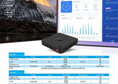 Beelink T4 Mini PC,Windows 10 Intel Atom X5-Z8500 (up to 2.24GHz) Ultra-Quiet Mini Computer with Fan,4GB DDR3/64GB eMMC,with HDMI+DP Port,4K@30Hz HD,2.4G+5G WiFi,Gigabit Ethernet,BT 4.0