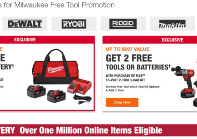 1 Free Tool or Battery with Milwaukee M18 2-Battery 4.0Ah Kit or 2 with M18 2-Tool 5.0Ah Kit from Home Depot