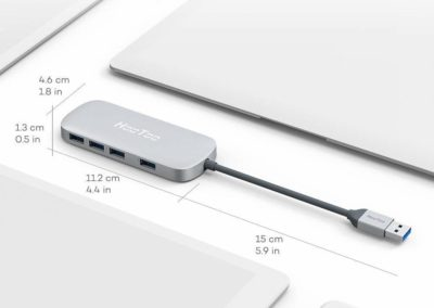 USB Hub, HooToo Ultra Slim 4-Port USB 3.0 Data Hub (5Gbps Transfer Speed, Anodized Alloy, Compact, Lightweight, for Mac and Windows OS) (Silver)