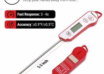 ThermoPro TP15 Digital Waterproof Instant Read Meat Thermometer for Grilling Cooking Food Candy Thermometer Kitchen with Calibration & Backlight for BBQ Smoker Grill Thermometer