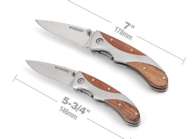 WORKPRO 2-piece Folding Pocket Knife Set with Wood Handle (3 inch Blade and 2-3/8 Inch Blade), for EDC and Outdoor Activities