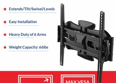 Fleximounts TV Wall Mount Bracket for Most 32-60 Inch Swivel Tilt Full Motion Articulating Long Extension LED LCD Flat Screen VESA 400x400mm
